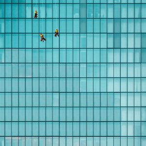 Cleaning Windows High-Rise Building